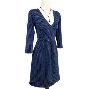 Anthropologie wrap dress textured pockets blue M